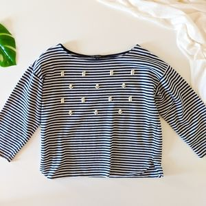 Banana republic striped Embellished pullover